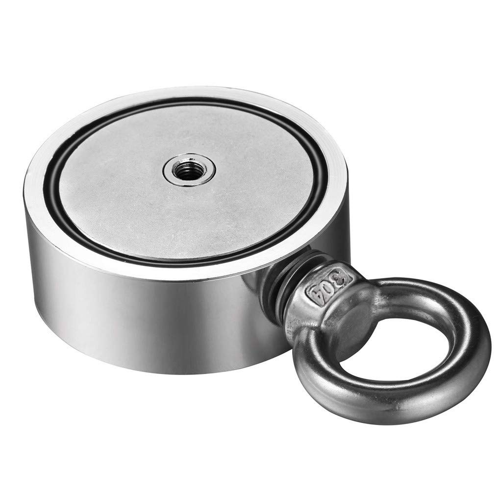 Magnetic Hook,Double Side Neodymium Metal Magnet Detector, Pond Magnet Salvage Tool,Household Goods, 441/661/1100 LB + 394inches Rope (2.36in/661LB)