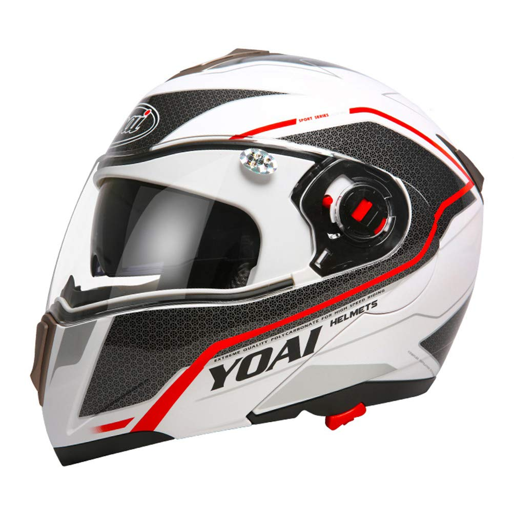 Bluetooth para Hombre Motocicleta Casco para Motocicleta Antiempa/ñamiento para Mujer Doble Lente Flip Up Moto Motocross Cascos XXL