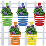 Trust basket Round Ribbed Railing Planters (Green, Yellow, Red, Blue, Orange) - Set of 5