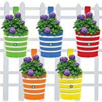 Trust Basket Round Ribbed Railing Planters (Multicolour, Pack of 5)