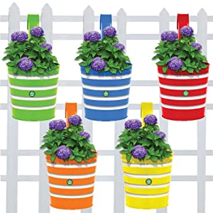 Trust basket Round Ribbed Railing Planters (Green, Yellow, Red, Blue, Orange) - Set of 5