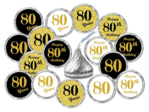 80th Birthday Kisses Stickers, (Set of 324) Chocolate Drops Labels Stickers For 80th Birthday, Hershey's Kisses Party Favors Decor, 9 Designs (36 Stickers of Each)
