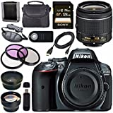 Nikon D5300 DSLR Camera with AF-P 18-55mm VR Lens (Grey) + Sony 128GB SDXC Card + Carrying Case Bundle