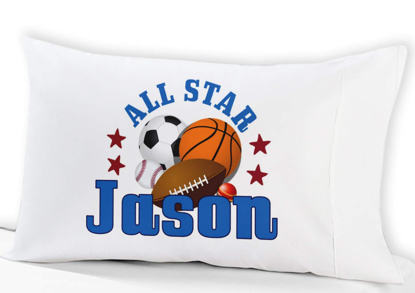 Personalized All Star Boys Sports Standard Pillowcase Fit Standard 19x26 Pillow Insert Baseball Basketball Football Soccer Ball Design (Standard) Stocking Factory PCASE-KIDS-ALLSTAR-STD-PERS