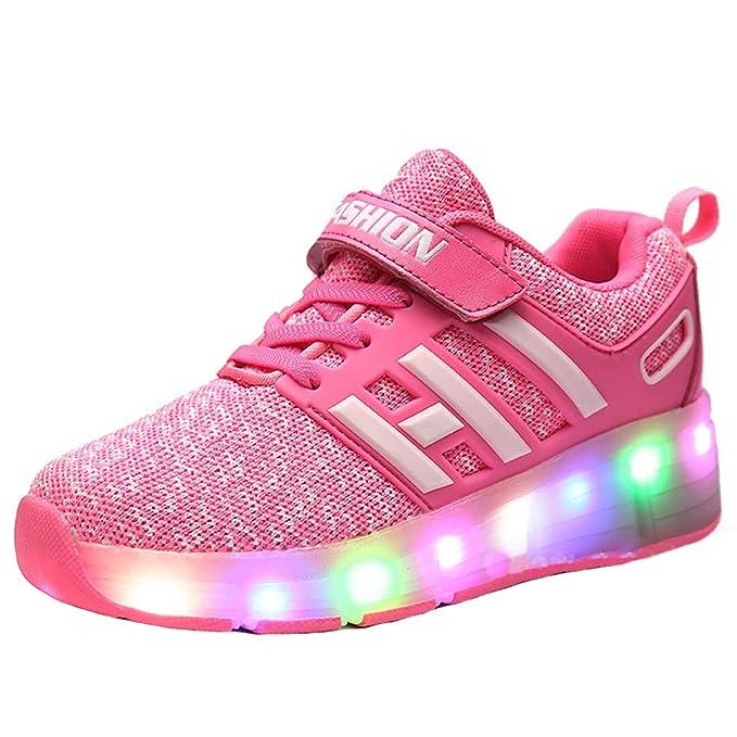 GOLDGOD Zapatos deportivos para niños Zapatos para exteriores Zapatillas con luces LED Flash con interruptor Polea simple y doble de Heelys Hombres y ...