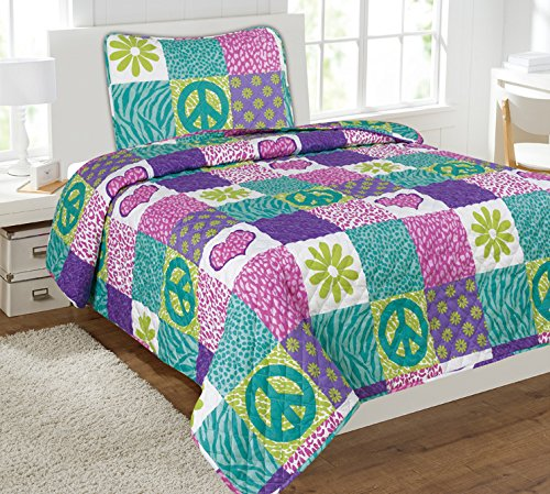 Mk Collection 2 Pc Bedspread Teens/girls Pink Purple Teal Heart Flower