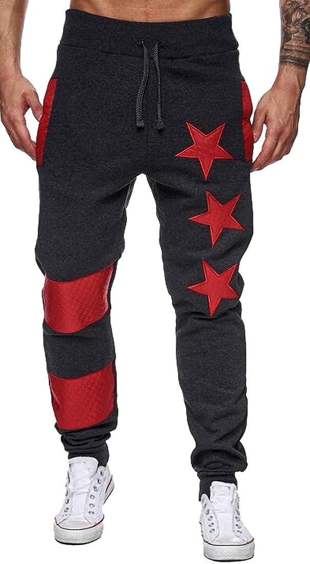 SHOWNO Mens Classic Drawstring Waist Star Print Active Jogger Pants Sweatpants