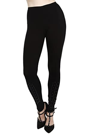 b02907cb0cc67 Women's Sm Black Leggings-Bling Crystal Rhinestone Embellished-Glam ...