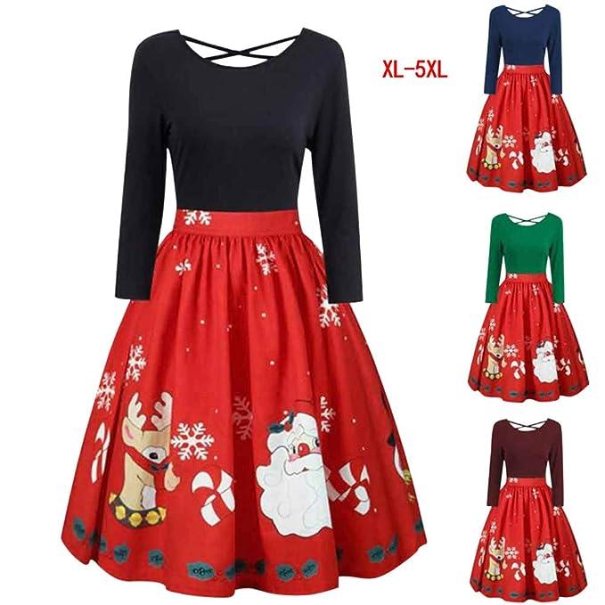 ling+yan Moda Donna Maniche Lunghe allargata Piccolo Natale Stampa Cocktail  Partito Vestito Bel Vestito  Amazon.it  Abbigliamento 05e33c02c34