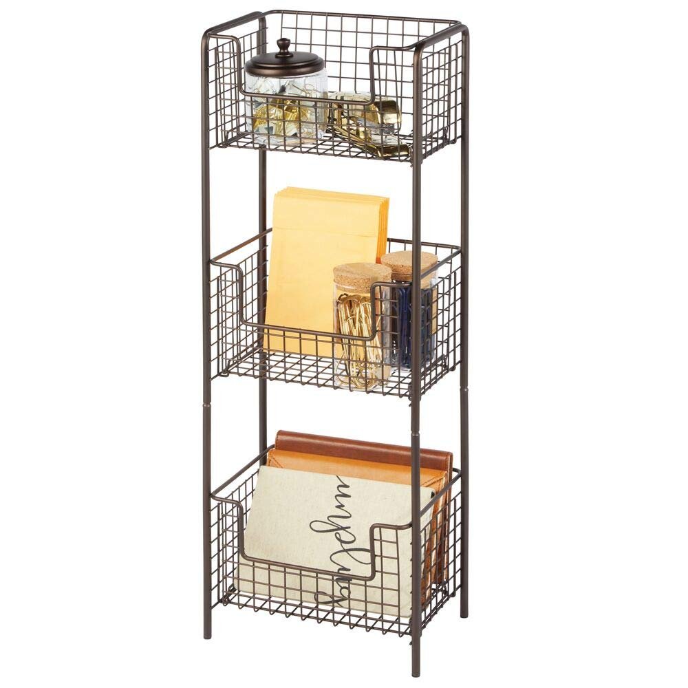 mDesign 3 Tier Vertical Standing Home Office Shelving Unit, Decorative Metal Storage Organizer Tower Rack with 3 Basket Bins for Desk, Office Supplies, Paper, Folders, Notepads - Bronze