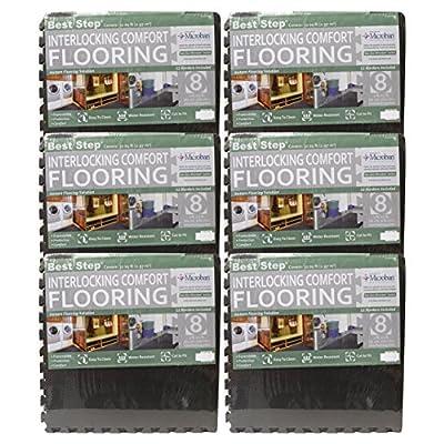 Best Step Interlocking Comfort Flooring. 8 Pack plus Borders (2' x 2' x 3/8) (one Pack of 8 Tiles = 32 sq. ft.) Anti-Fatigue, Microban Protected, Charcoal Gray Foam Flooring