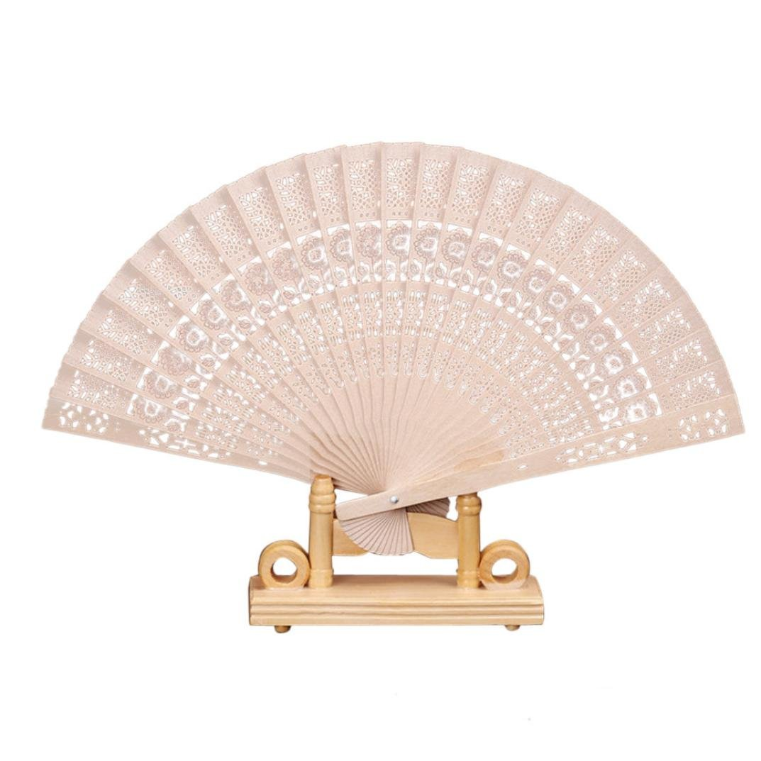 Sikye Classic Chinese Fan,Hollow Out Wooden Carved Folding Fan Hand Bamboo Fan for Wedding Party Decoration Gifts