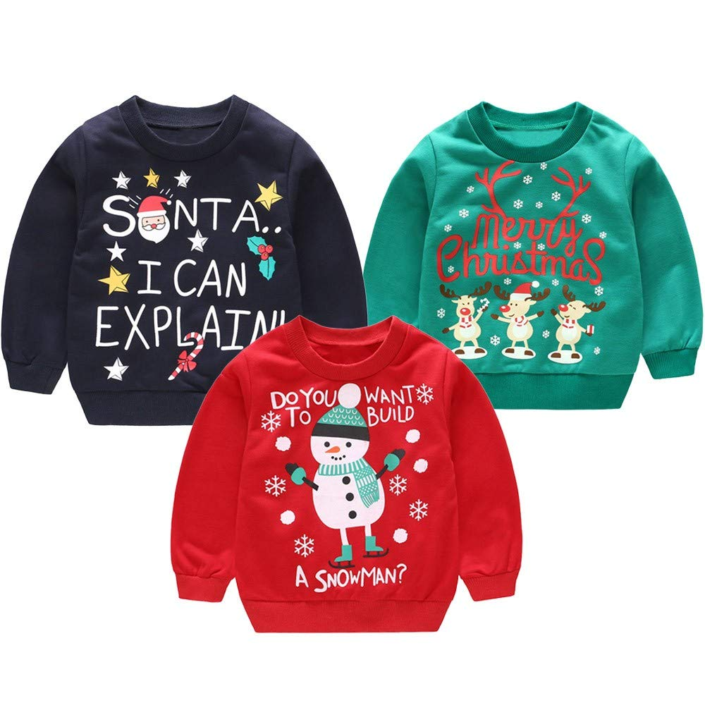 2-3 years old, Navy81 Zerototens Children Christmas T-Shirt,0-4 Years Old Toddler Baby Boys Girls Cartoon Deer Letter Print Long Sleeve Pullover Sweatshirt Blouse Tops Autumn Winter Casual Outfit