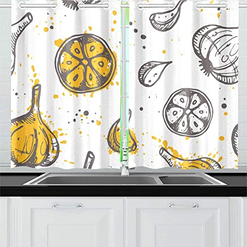 ZSHMG Kitchen Curtains Pattern Garlic Ink Window Drapes 2 Panel Set for Kitchen Cafe Decor, 52 X 39 , Small Cafe Curtains