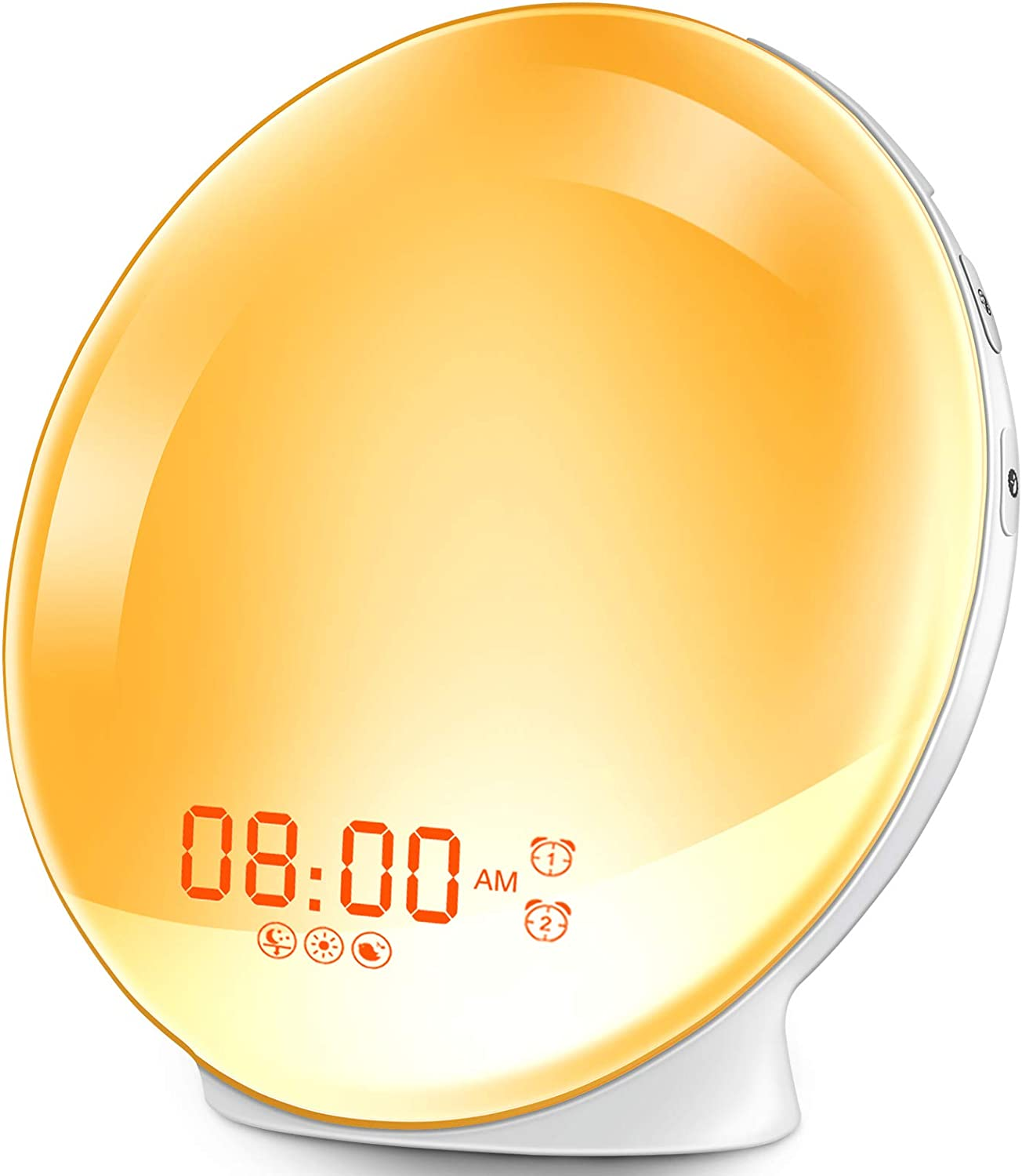 HOKEKI Wake-Up Light, Alarm Clock with 7 Colored Sunrise Simulation and Sunset Fading Night Light & Snooze Feature for Kids Heavy Sleepers, Dual Digital Clock with FM Radio and 7 Natural Sounds