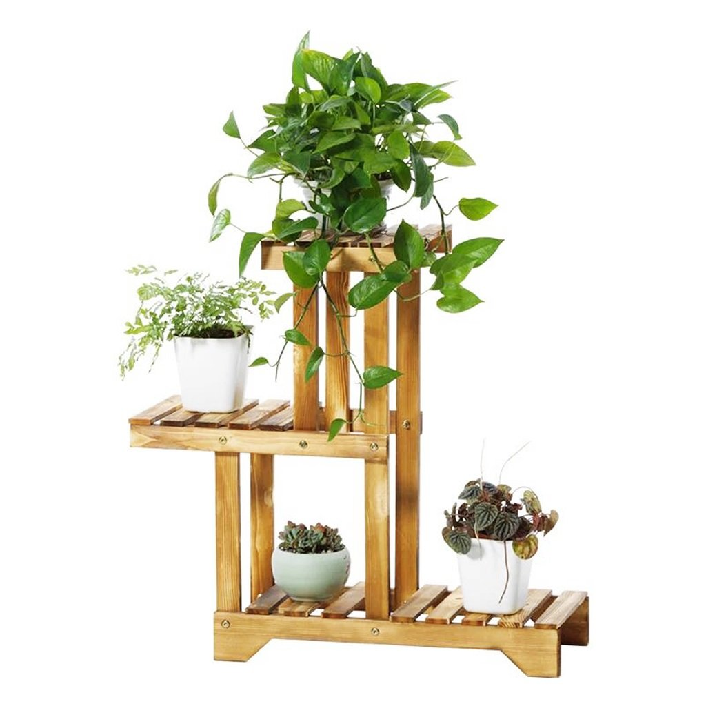 StudioFun Wooden Flower Rack Flowerpot Display Shelf Multifunction Plant Stand, HWD: 665525 CM, Light Brown