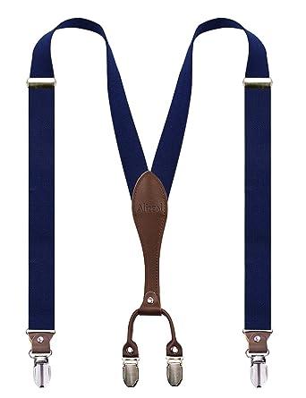 b7e5756da0058 Alizeal Bretelles Elastique Y-style avec les Bouts en Cuir Véritable  Bretelles 2.5cm Largeur