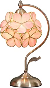 Bieye L10732 Cherry Blossom Tiffany Style Stained Glass Table Lamp with Petal Lampshade Vintage Brass Base, 8