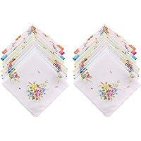 Abbraccia 20pcs Women Lady Soft Handkerchiefs Vintage Flower Wedding Hankies Wave Edge