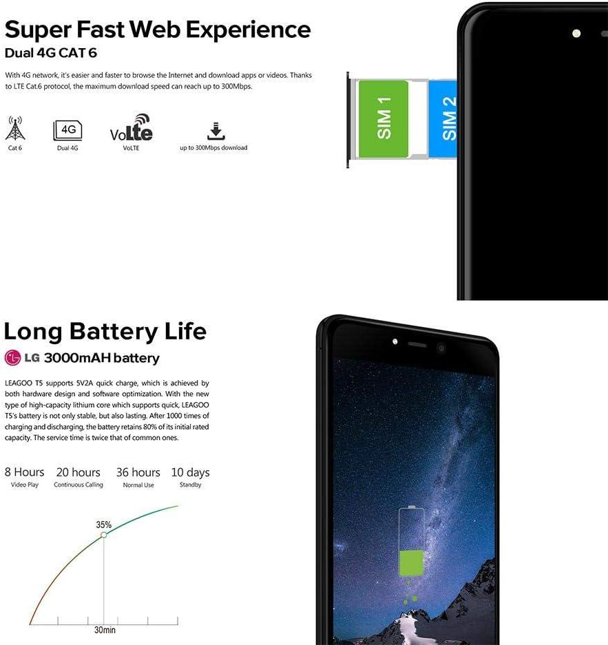 SUNSETGLOW LEAGOO T5 4GB / 64GB, Dual SIM, Desbloqueado Gratis LTE ...