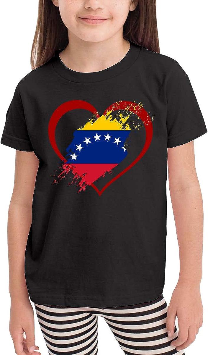 CERTONGCXTS Toddler Venezuela Flag Heart Shape Cute Short Sleeve T-Shirt Size 2-6