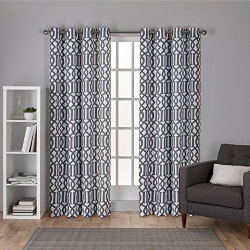 Exclusive Home Scrollwork Gated Print Woven Sateen Window Curtain Panel Pair with Grommet Top, 52x96, Winter White, 2 Piece