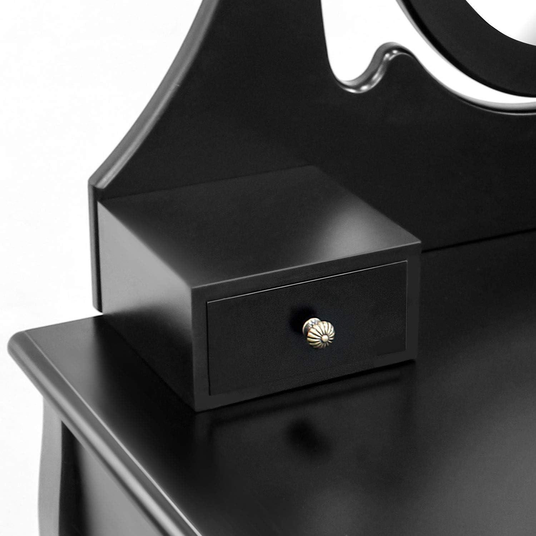 Tama/ño del espejo: 39,9 x 55,1 cm espejo oval con el moldeado Blanco Material: MDF Todeco 3 cajones Mesa de Maquillaje Tocador