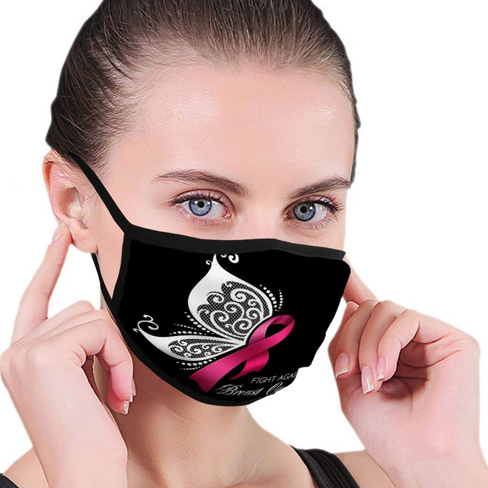 Randell Face Cover Mouth Scraf Breast Cancer Awareness Pink Ribbon With Butterfly Wings At Amazon Women S Clothing Store