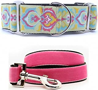"product image for Diva-Dog 'Confection Perfection' 2"" Extra Wide Chainless Martingale Dog Collar, Pink Velvet Leash Available - MD, LG, XL"