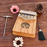 ammoon Kalimba 17 key Thumb Piano Solid Wood Finger Piano with Carry Bag Tuning Hammer AKP-17L