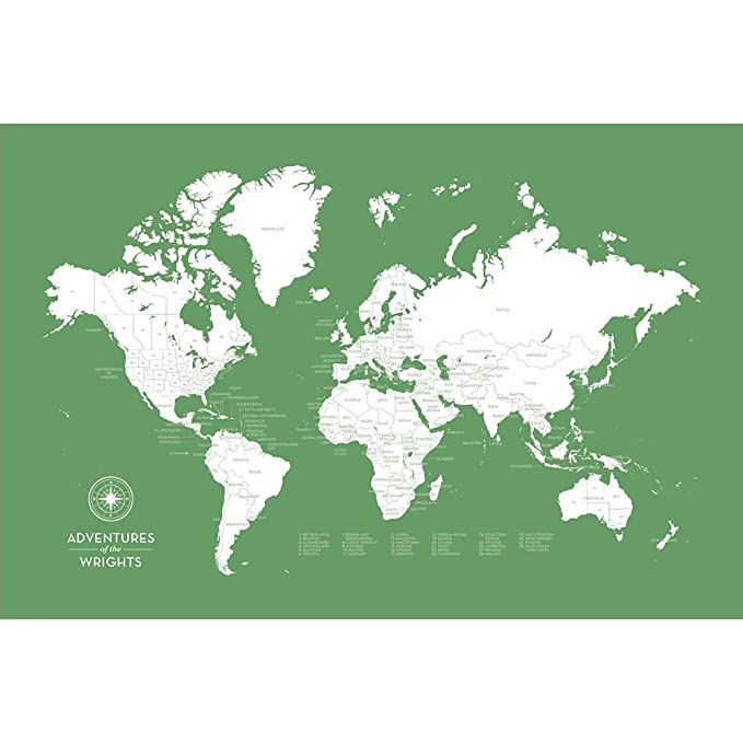 Amazon.com: laurenmaryco Push Pin Map of The World, Personalized Map, Large Canvas, Leaf Green: Posters & Prints