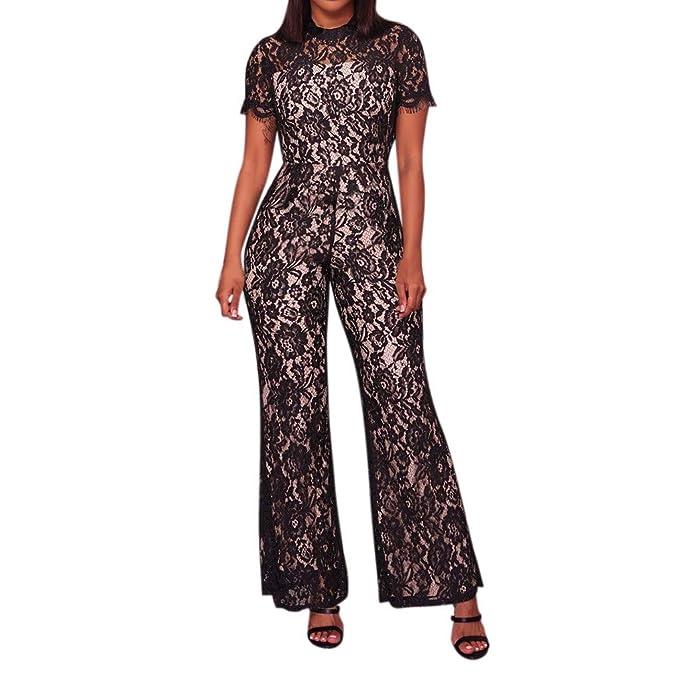 eeb78935f76a Women s Sexy Lace Short Sleeve Lace Up Jumpsuit Wide Leg Romper Pants Black