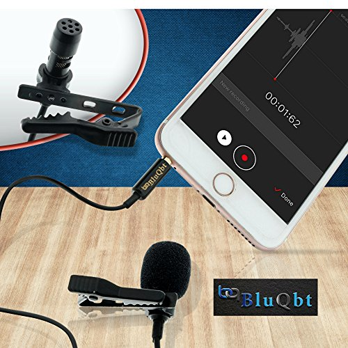 """Lavalier Lapel Podcast Iphone Microphone:BluQbt Professional High Audio Quality Clip On Microphone Lav Mic Great for Youtube Camera Vlogging. 118"""" cable and carry case, compatible with Apple by BluQbt (Image #1)"""