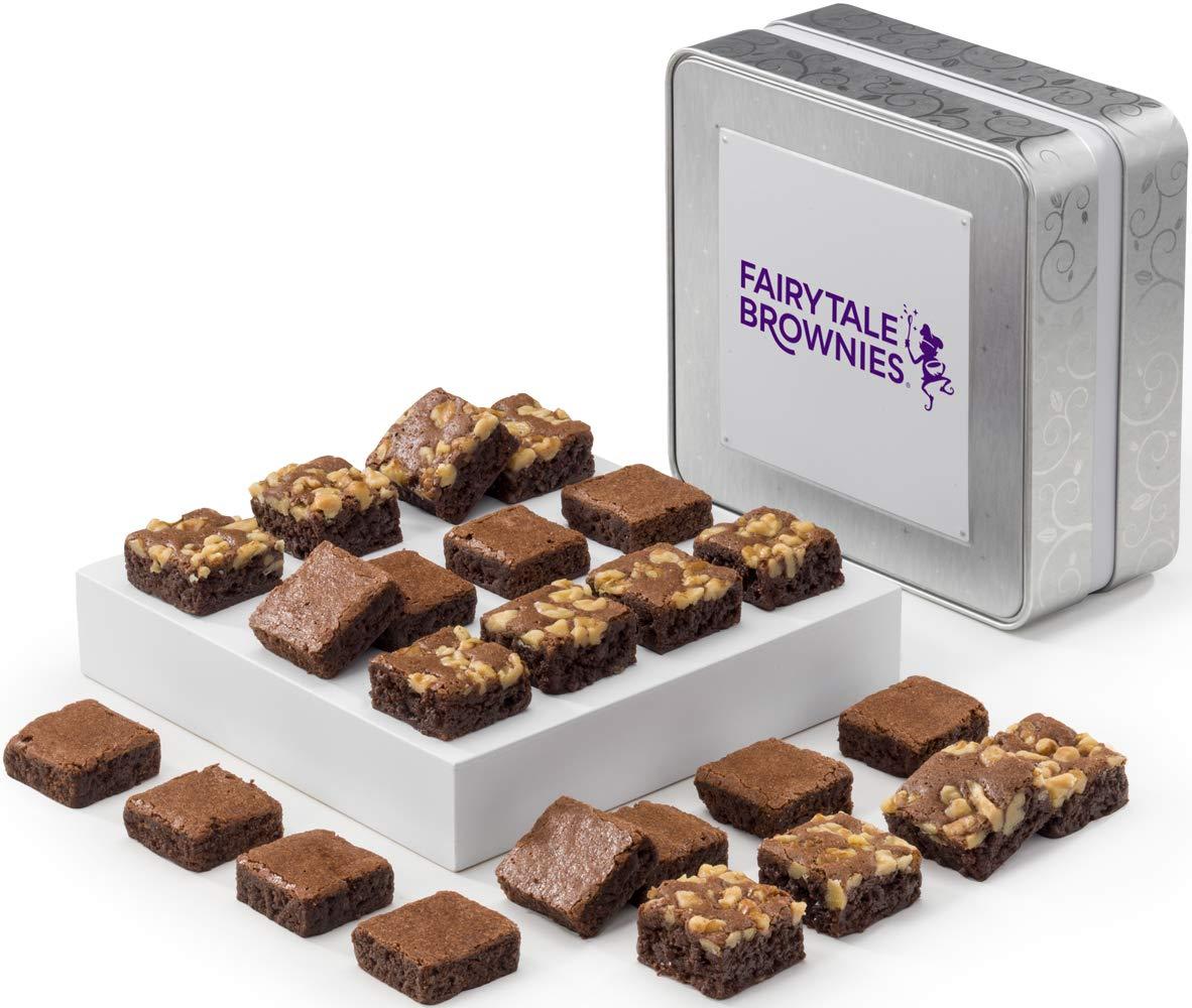 Fairytale Brownies Keepsake Tin SUGAR-FREE Magic Morsel 24 Gourmet Chocolate Food Gift Basket - 1.5 Inch x 1.5 Inch Bite-Size Brownies - 24 Pieces - Item TF524