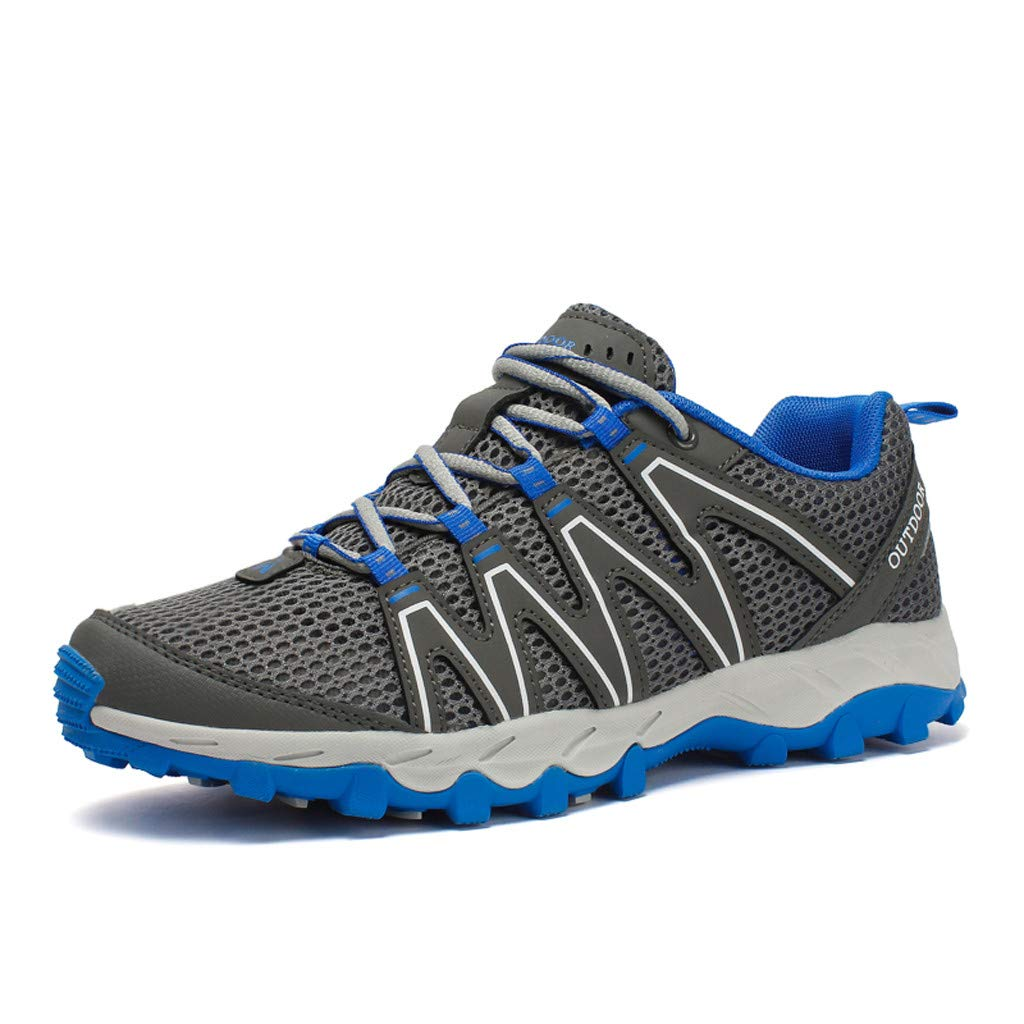 Hiking Sneakers Men,Mosunx Athletic 【Mesh Breathable Non-Slip】Lightweight Lace Up Outdoor Trail Walking Shoes Climbing Shoes (10 M US, Gray) by Mosunx Athletic (Image #2)