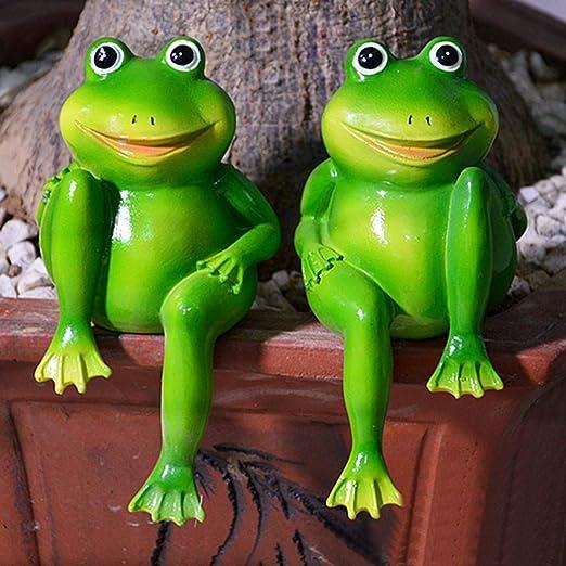 GAC Esculturas de jardín – 1 par de Bonitas Ranas sentadas de Resina, Estatua de jardín, Escultura Decorativa de Ranas para jardín al Aire Libre, Estanque Decorativo – Ranas Medianas: Amazon.es: Jardín