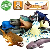 Ocean Sea Animal,8 Inch Rubber Bath Toy Set(8 Pack Random), Food Grade Material TPR Super Stretches, Some Kinds Can Change Colour, ValeforToy Floating Bathtub Toy Party Shark Octopus Figure