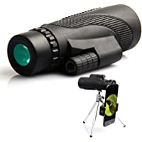 Monocular Telescope, 40x60 High Powered Monocular with Smartphone Adapter & Tripod for Bird Watching-Black