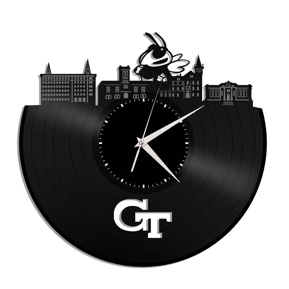 VinylShopUS - Georgia Tech Vinyl Wall Clock University College Memoribilia Personalized Decor