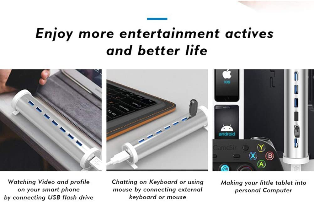 7 Ports USB Hub Splitter with LED Indicator Adapter for Mobile Phone//Tablet//Notebook//Desktop//Apple Devices Xfc Powered USB 3.0 Hub