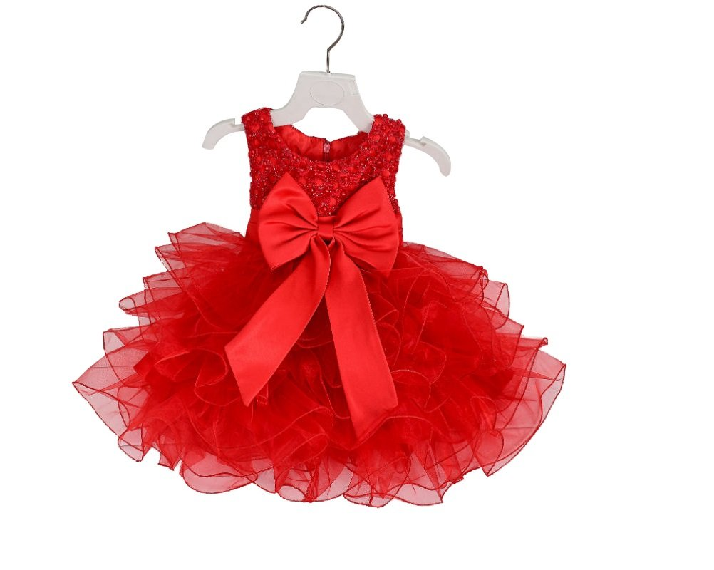 0~2 Years Toddler Girls Sequin Beaded Bowknot Birthday Pageant Party Tutu Dress HYSENM