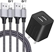 iPhone Charger YOKERSU Nylon Braided Lightning Cable Fast Charging 2Pack 6FT Data Sync Transfer Cord with Port Plug Wall Cha
