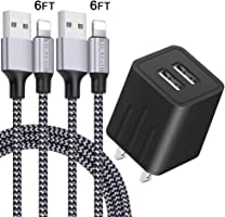 iPhone Charger YOKERSU Nylon Braided Lightning Cable Fast Charging 2Pack 6FT Data Sync Transfer Cord with Port Plug Wall...