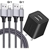 iPhone Charger YOKERSU Nylon Braided Lightning Cable Fast Charging 2Pack 6FT Data Sync Transfer Cord with Port Plug Wall Charger(ETL Listed)Compatible with iPhone XS Max/XS/XR/X/8/7/6S/6/Plus/SE/iPad