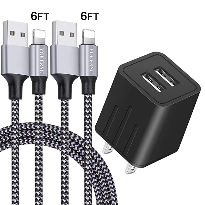 iPhone Charger, YOKERSU Fast Charging 2Pack 6Ft Nylon Braided Lightning Cable Data Sync Transfer Cord with 2-Port Plug Wall Charger (ETL Listed) Compatible with iPhone XS MAX/XR/X/8/7/6S/6/Plus/iPad