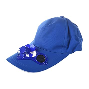 ff163737bc6 SODIAL(R) Summer Outdoor Solar Sun Power Hat Cap Cooling Cool Fan for Golf  Baseball Sport - blue  Amazon.co.uk  Sports   Outdoors