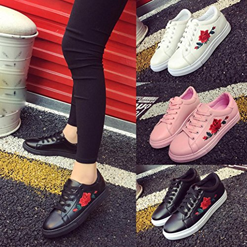 Straps Little Women's Embroidered Shoes Sports Casual White Board Flower Flower Shoes Embroidery Sports Shoes Shoes Sneakers Bovake Running With Fashion Sneakers Black fXwI6p