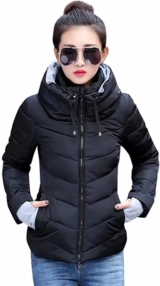 SUSIELADY Womens Winter Jacket Parkas Thicken Outerwear Solid Hooded Coats Short Slim Cotton Padded Basic Tops Black Medium