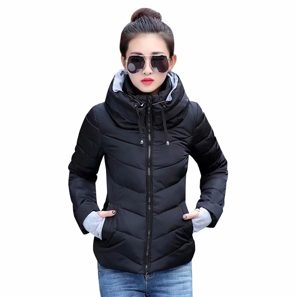 SUSIELADY Womens Winter Jacket Parkas Thicken Outerwear Solid Hooded Coats Short Slim Cotton Padded Basic Tops Black Large
