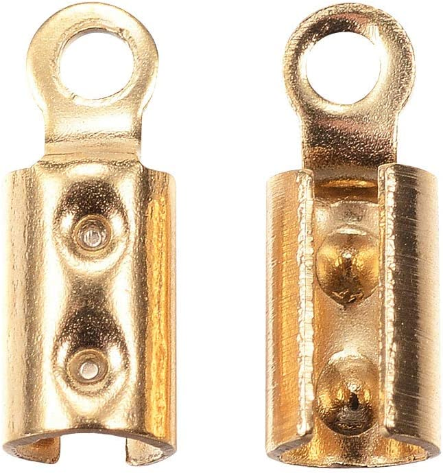 UNICRAFTALE 20pcs 304 Stainless Steel Folding Crimp Ends Golden Cord Ends 1.2mm Hole Leather End Caps for Bracelet Necklace Making 8.5x3mm